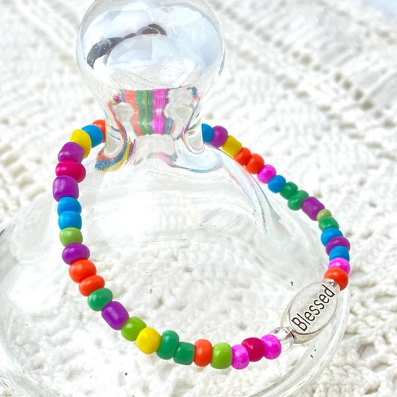 Child BLESSED Charm Stretch Bracelet Colorful